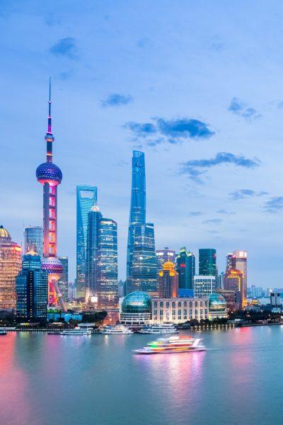 beautiful shanghai cityscape in nightfall , huangpu river with pudong skyline, China